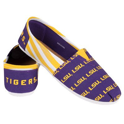 LSU Tigers Official NCAA Womens Stripe Canvas Slip-on Shoes