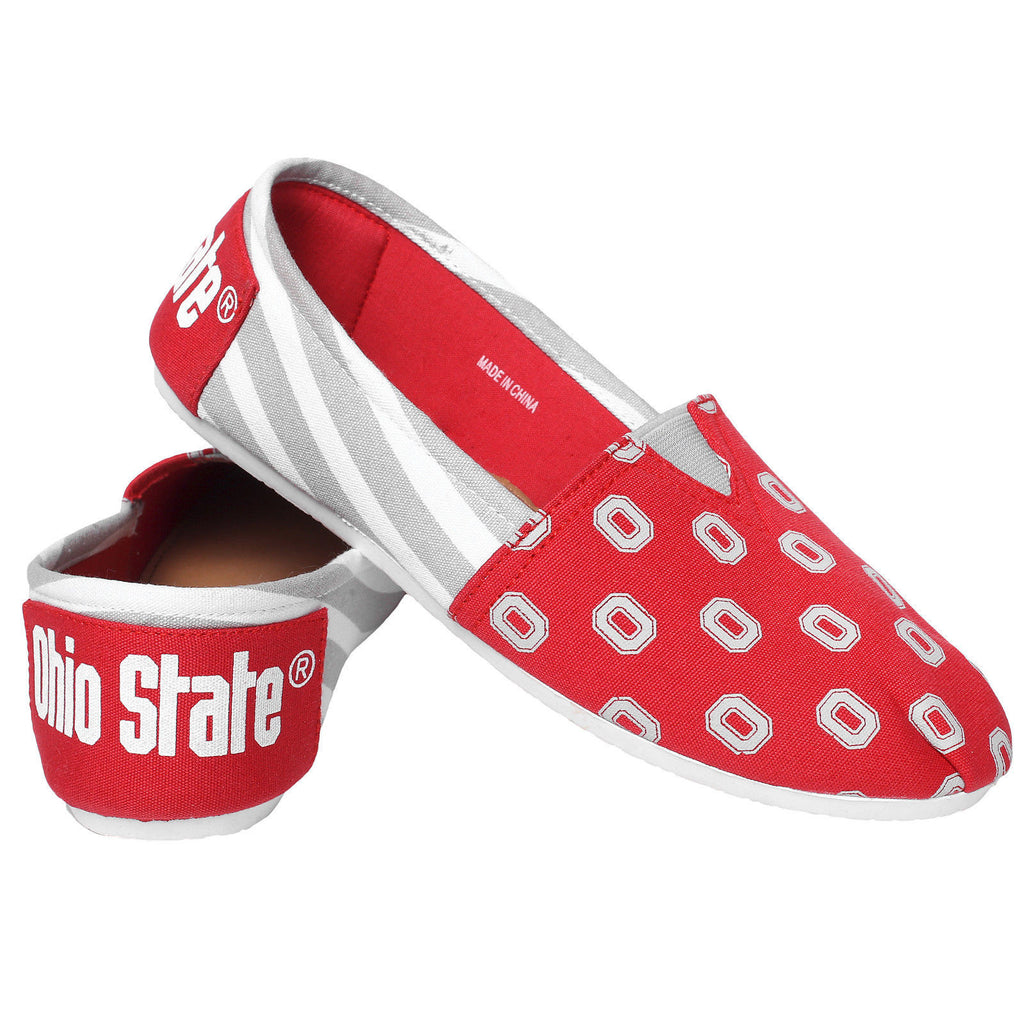 Ohio Official NCAA Womens Stripe Canvas Slip-on Shoes