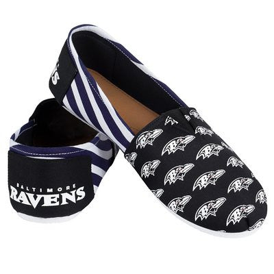 Baltimore Ravens Official NFL Womens Stripe Canvas Slip-on Shoes