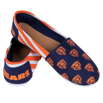 Chicago Bears Official NFL Womens Stripe Canvas Slip-on Shoes