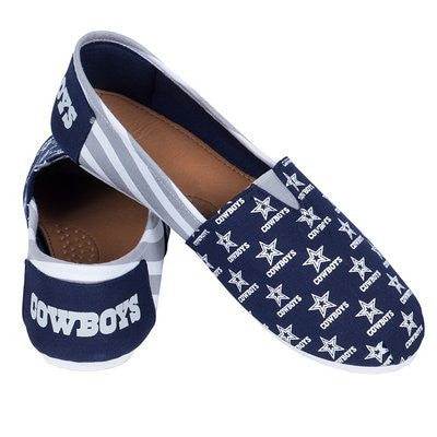 Dallas Cowboys Official NFL Womens Stripe Canvas Slip-on Shoes