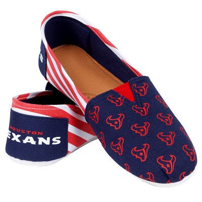 Houston Texans Official NFL Womens Stripe Canvas Slip-on Shoes