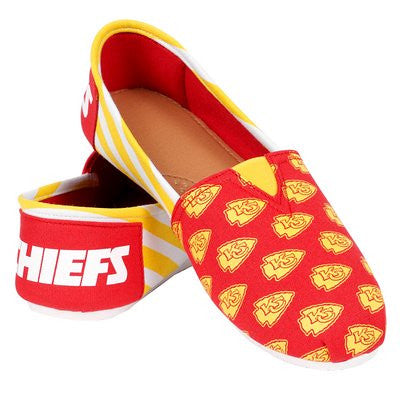Kansas City Chiefs Official NFL Womens Stripe Canvas Slip-on Shoes