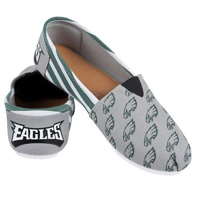 Philadelphia Eagles Official NFL Womens Stripe Canvas Slip-on Shoes