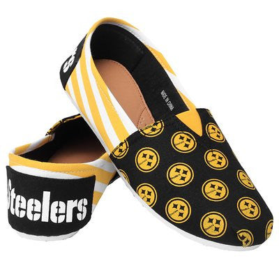 Pittsburgh Steelers Official NFL Womens Stripe Canvas Slip-on Shoes