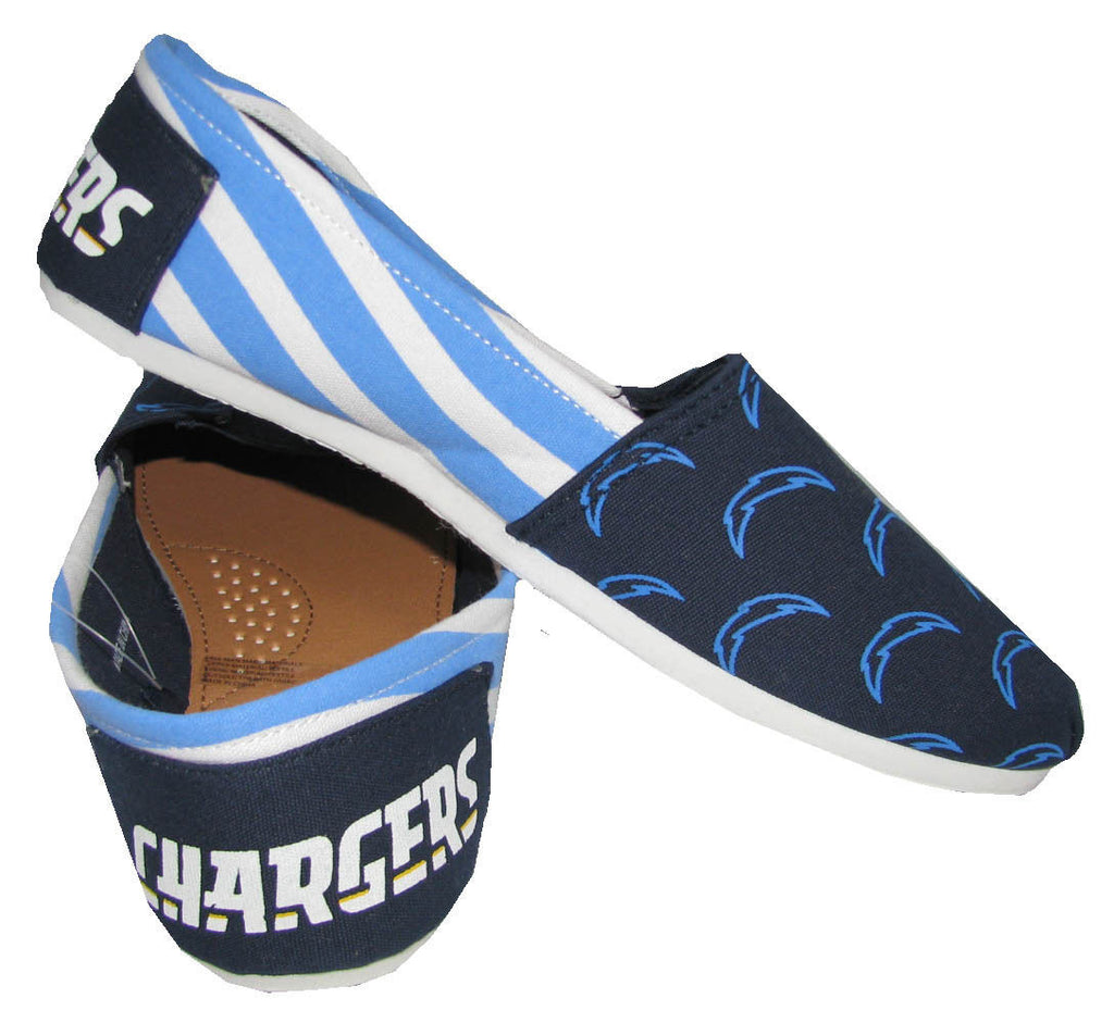 San Diego Chargers Official NFL Womens Stripe Canvas Slip-on Shoes