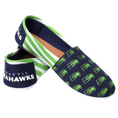 Seattle Seahawks Official NFL Womens Stripe Canvas Slip-on Shoes