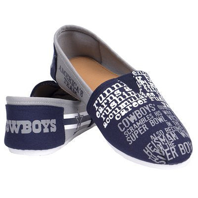 Dallas Cowboys Official NFL Womens Smu Canvas Slip-on Shoes