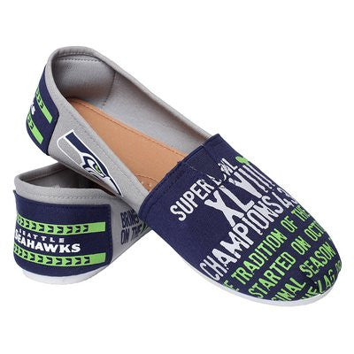 Seattle Seahawks Official NFL Womens Smu Canvas Slip-on Shoes