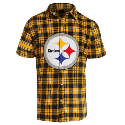 Pittsburgh Steelers Official NFL Colorblock Short Sleeve Flannel