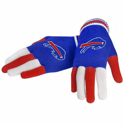 Buffalo Bills Official NFL Multi Color Team Logo Knit Gloves