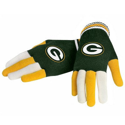 Green Bay Packers Official NFL Multi Color Team Logo Knit Gloves