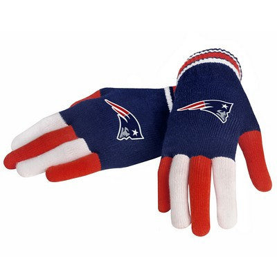 New England Patriots Official NFL Multi Color Team Logo Knit Gloves