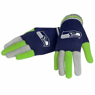 Seattle Seahawks Official NFL Multi Color Team Logo Knit Gloves