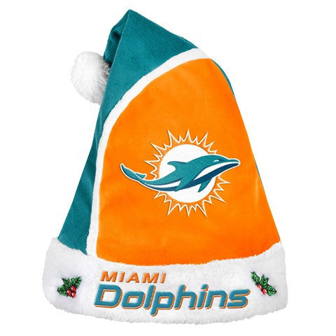 Miami Dolphins Official NFL 2015 Holiday Santa Hat