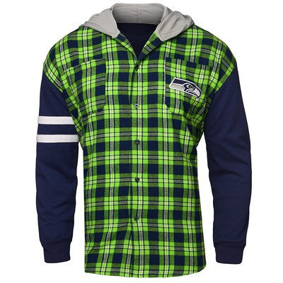 Seattle Seahawks Official NFL Mens Lightweight Flannel Hooded Jacket