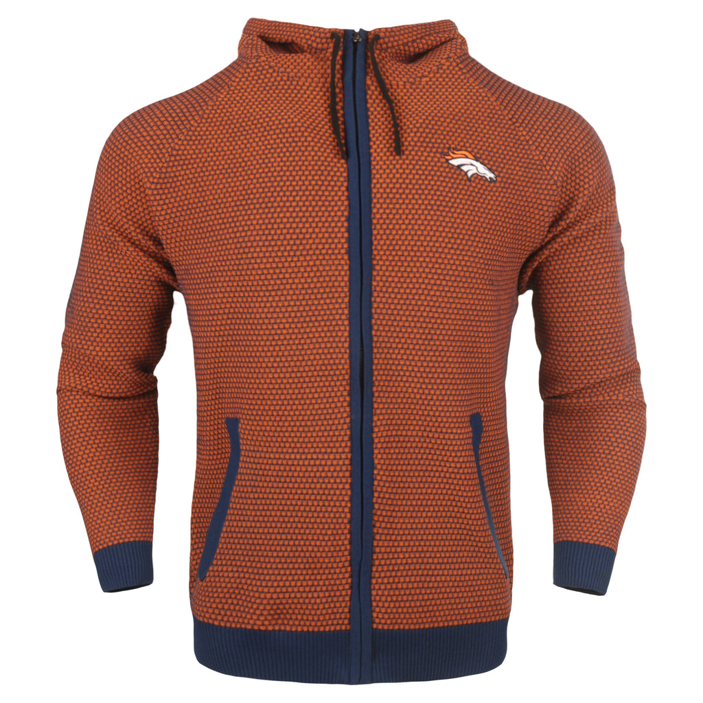 Denver Broncos Official NFL Poly Knit Full Zip Hoody - Mens