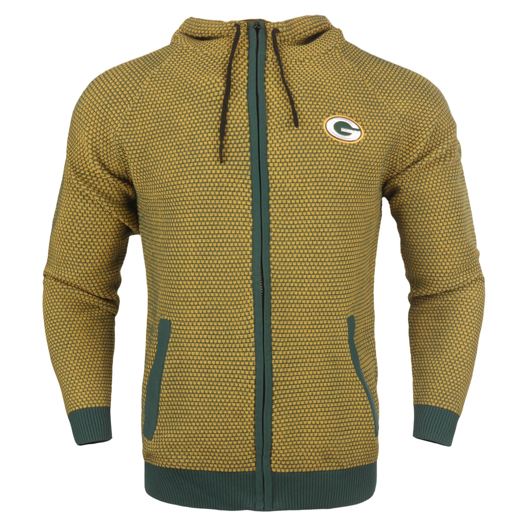 Green Bay Packers Official NFL Poly Knit Full Zip Hoody - Mens