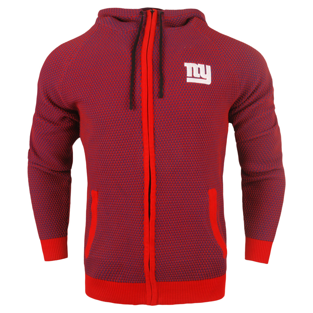 New York Giants Official NFL Poly Knit Full Zip Hoody - Mens