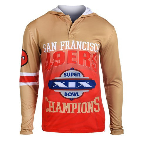San Francisco 49Ers Super Bowl Xix Official NFL Champions Poly Hoody Tee