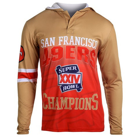 San Francisco 49Ers Super Bowl Xxiv Official NFL Champions Poly Hoody Tee