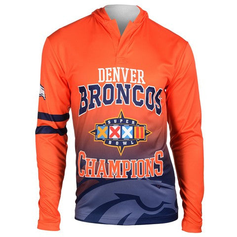 Denver Broncos Super Bowl Xxxii Official NFL Champions Poly Hoody Tee