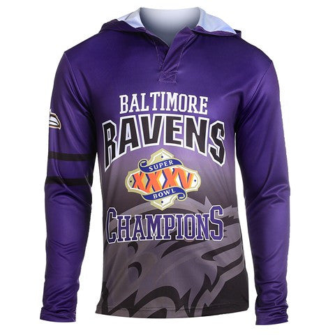 Baltimore Ravens Super Bowl Xxxv Official NFL Champions Poly Hoody Tee