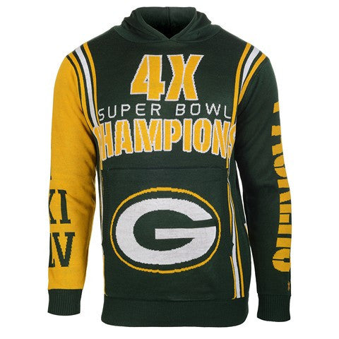 Green Bay Packers Official NFL Super Bowl Commemorative Acrylic Hoody