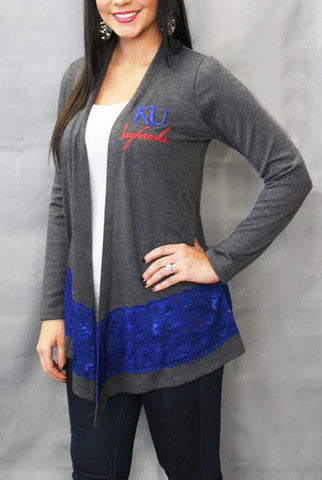 Kansas Jayhawks Women's Official NCAA Laser Trim Color Block Cardigan