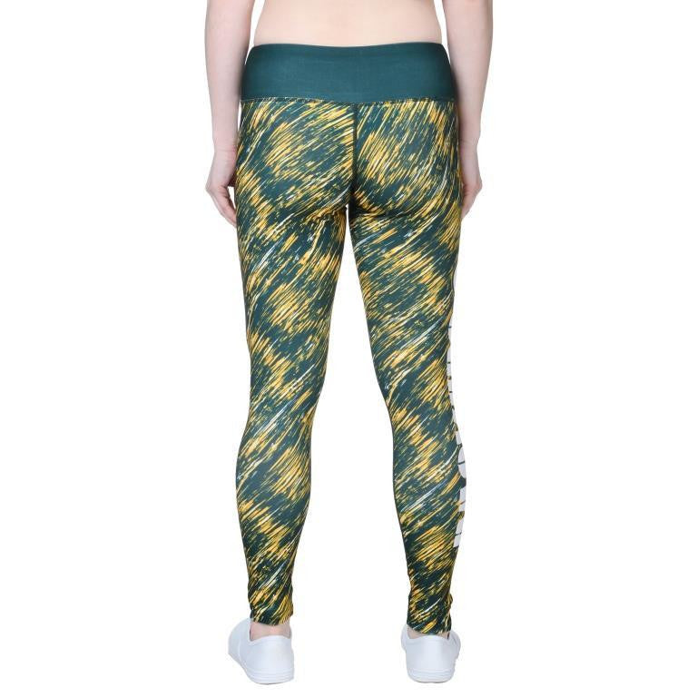 Green Bay Packers Official NFL Static Rain Leggings - Womens (Pre-Order Ships Late May)