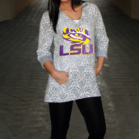 LSU Tigers Women's Official NCAA DAMASK LASER CUT TUNIC HOODIE