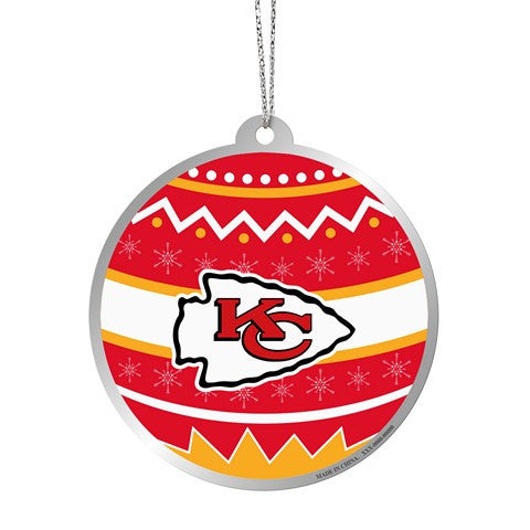 Kansas City Chiefs Official NFL Metal Ornate Ball Ornament