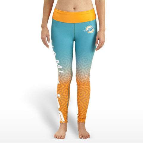 Miami Dolphins Womens Gradient Official NFL Print Leggings