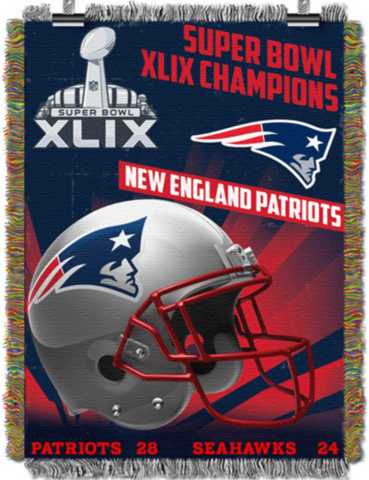 New England Patriots Superbowl 49 Champions Tapestry Throw 48x60