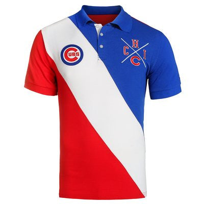 Chicago Cubs Official MLB Cotton Rugby Diagonal Striped Polo (PRE-ORDER)