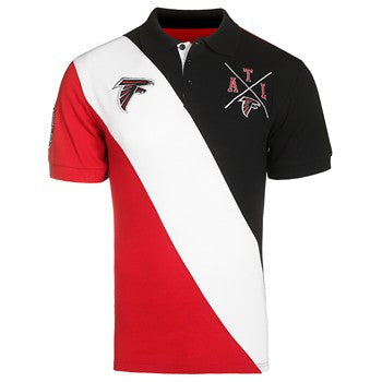 Atlanta Falcons Official NFL Cotton Rugby Diagonal Striped Polo (PRE-ORDER)