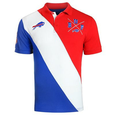 Buffalo Bills Official NFL Cotton Rugby Diagonal Striped Polo (PRE-ORDER)
