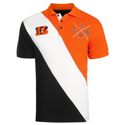 Cincinnati Bengals Official NFL Cotton Rugby Diagonal Striped Polo (PRE-ORDER)