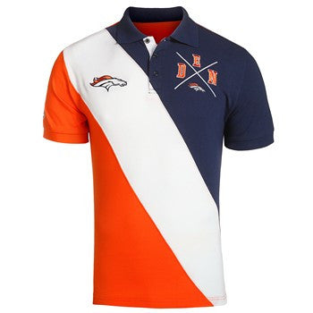 Denver Broncos Official NFL Cotton Rugby Diagonal Striped Polo
