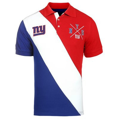 New York Giants Official NFL Cotton Rugby Diagonal Striped Polo (PRE-ORDER)