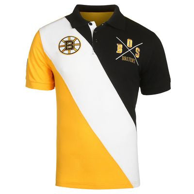 Boston Bruins Official NHL Cotton Rugby Diagonal Striped Polo