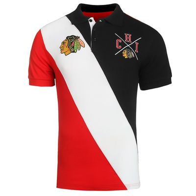 Chicago Blackhawks Official NHL Cotton Rugby Diagonal Striped Polo