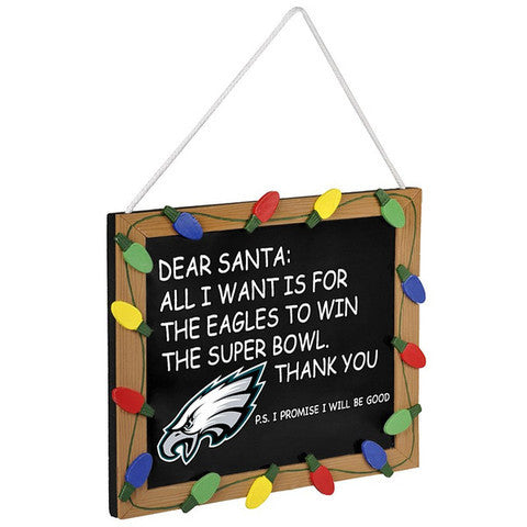 "Philadelphia Eagles NFL Chalk Sign Christmas Ornament 12"" x 13"""