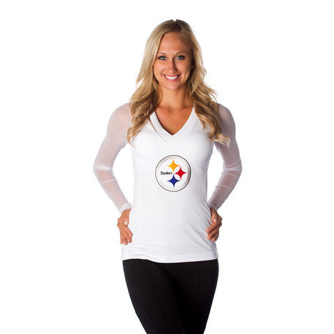 "Pittsburgh Steelers Women's Official NFL ""Wildkat"" White Top"