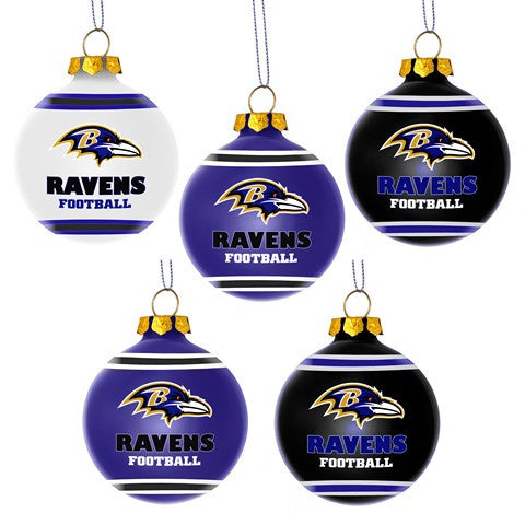Baltimore Ravens Official NFL 5 Pack Shatterproof Ball Ornament