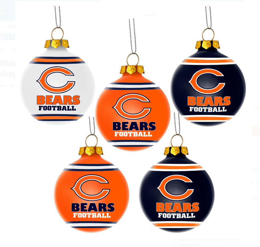 Chicago Bears Official NFL 5 Pack Shatterproof Ball Ornament