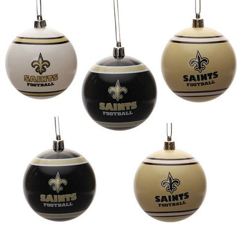 New Orleans Saints Official NFL 5 Pack Shatterproof Ball Ornament