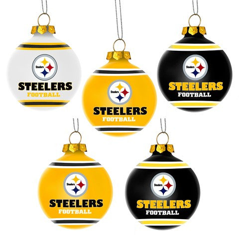 Pittsburgh Steelers Official NFL 5 Pack Shatterproof Ball Ornament