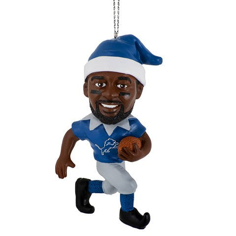 NFL Detroit Lions Johnson C. #81 Resin Player Elf Ornament