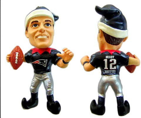NFL New England Patriots Brady T. #12 Resin Player Elf Ornament